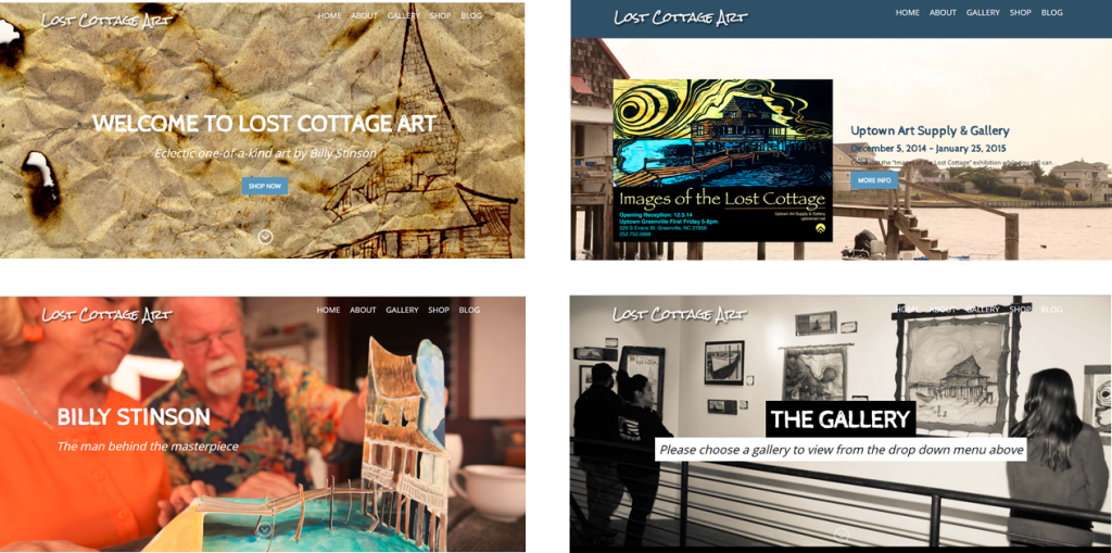 graphic design ecommerce website design of Lost Cottage Art pic