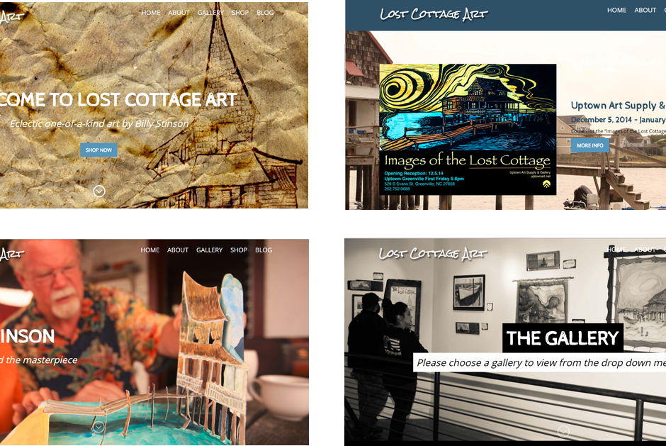 graphic design website design of Lost Cottage Art pic
